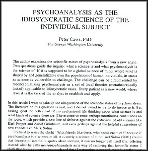 Article on Psychoanalysis